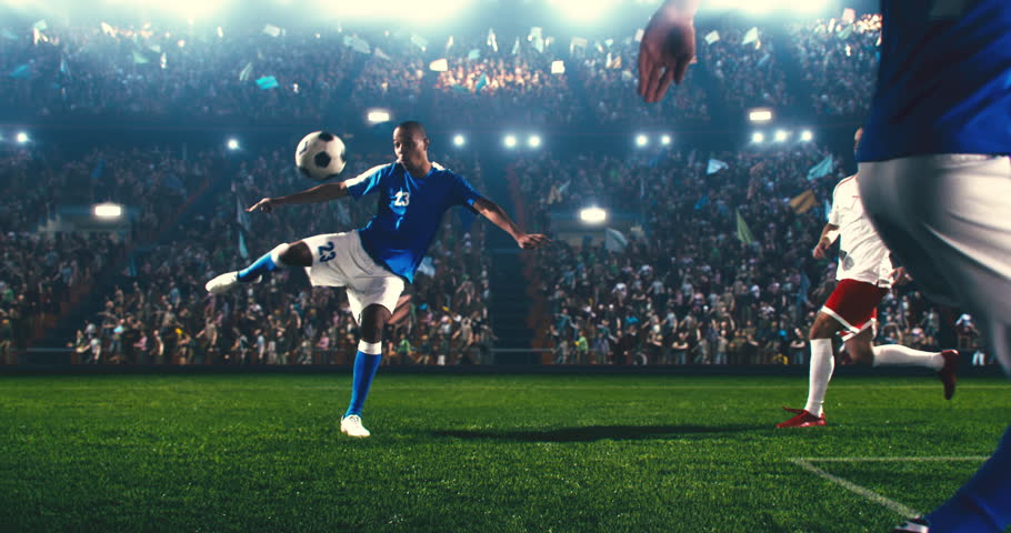 4k footage of a soccer player in dramatic play during a soccer game on a professional outdoor soccer stadium. Players wear unbranded uniform. Stadium and crowd are made in 3D. | Shutterstock HD Video #1025377679