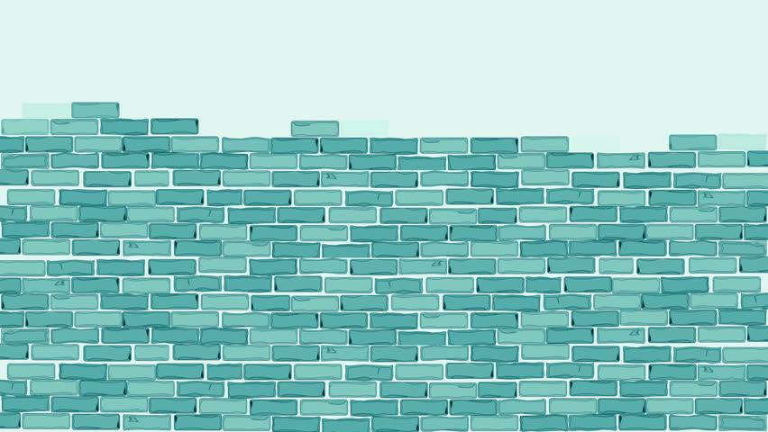 Brick wall construction. Blue bricks installing, building wall. Concept of construction, protection, craftsmanship and module structure. Foggy background.