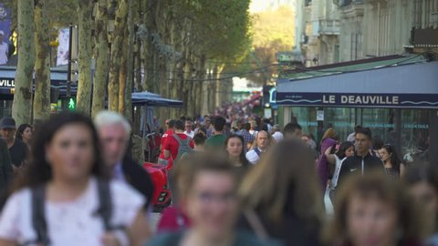 Paris cityscape. Crowd of people on Champs Elysees shopping street - September 2018: Paris, France