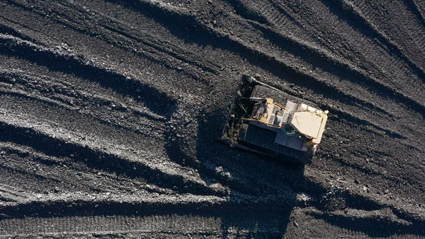 Open pit mine. Aerial view of extractive industry for coal. Top view. Footage captured with drone.    Shutterstock HD Video #1025424089
