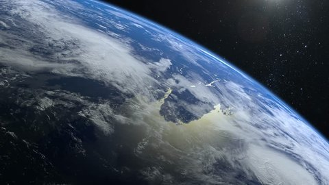 Earth from space. The camera flies away from the Earth. Stars twinkle. Flight over the Earth. The horizon is turned to the right. 4K. Sunrise. Realistic atmosphere. 3D Volumetric clouds.