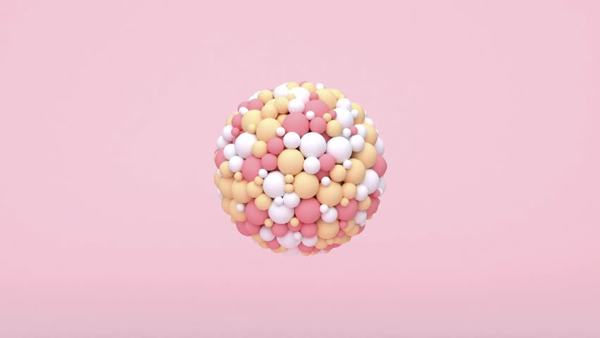 Abstract sphere pink white yellow particles motion 3d rendering  | Shutterstock HD Video #1025451329