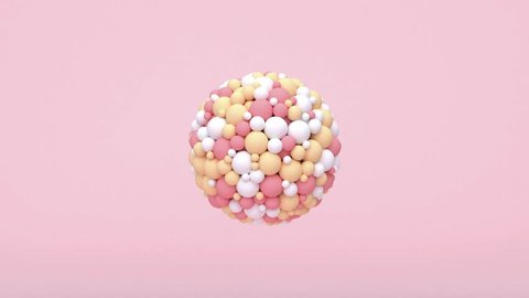 abstract sphere pink white yellow particles motion 3d rendering