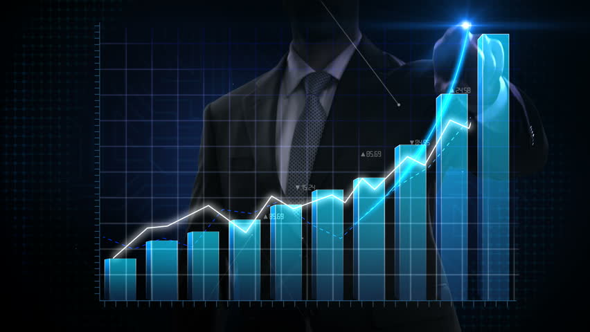 Businessman moves finger up, various animated Stock Market charts and bar graphs. Increase blue line. 4k animation. | Shutterstock HD Video #1025454299