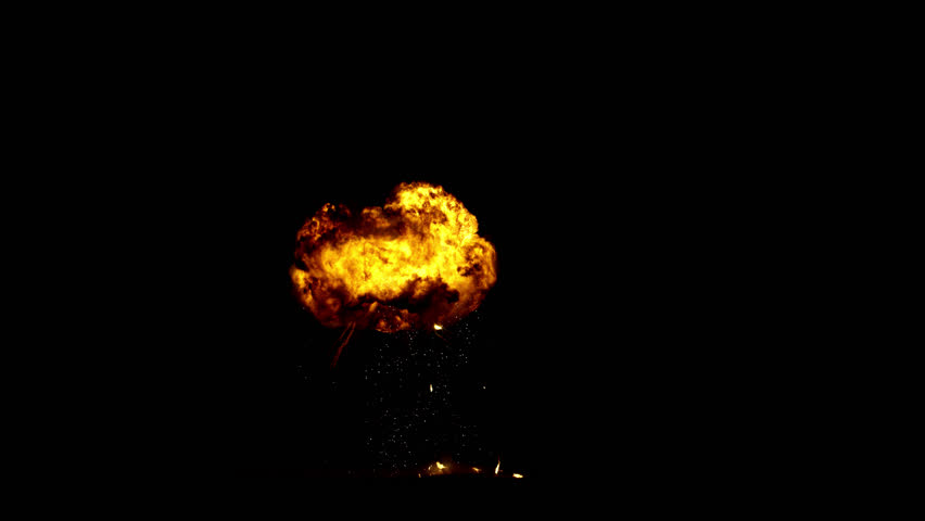 Giant real gas explosion professionally filmed VFX on black overlay for compositing. 4K RED | Shutterstock HD Video #1025496629