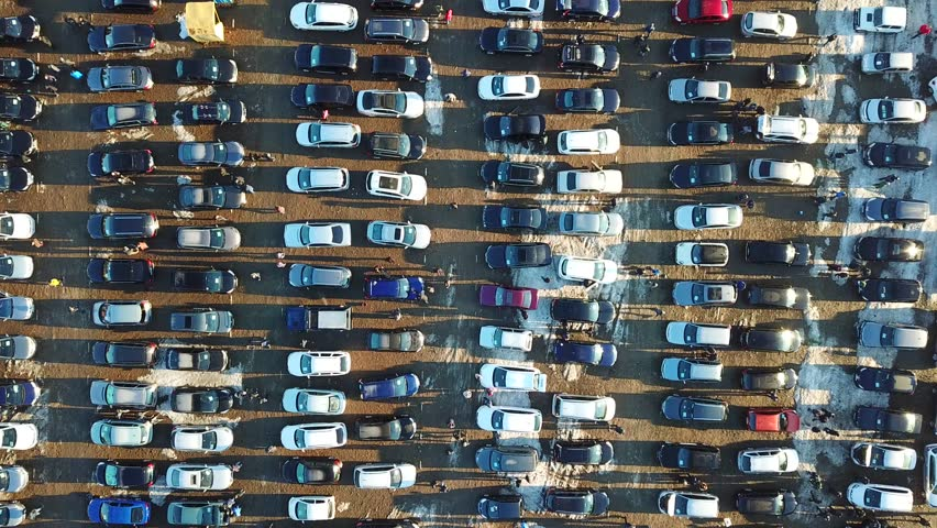 Top aerial view of many cars on sale car dealer market.   Shutterstock HD Video #1025499449