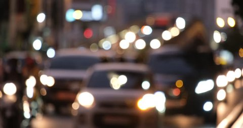 Traffic jam and rush hour in Vietnam. Slow moving traffic with a lots of vehicles transport on the road in office hours. Stock footage defocus of urban infrastructure problem, traffic congestion asia