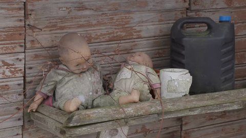 old dirty forgotten baby doll
