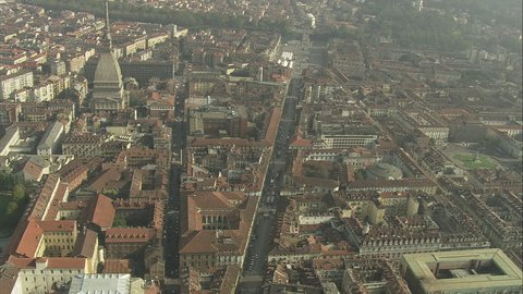 AERIAL Italy-Mole Antonelliana 2007: Turin centre Via Po Mole Antonelliana on the left Po river in background