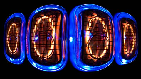 random numbers change on the numerical counter, in the curved space on the gas discharge indicator, Nixie tube
