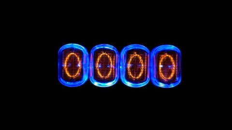 counting time counters, numerical counter numbers quickly change sequentially, Gas discharge indicator Nixie tube