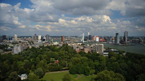 Panoramic Time Lapse of Rotterdam Skyline Het Park and Corporate Skyscrapers Day