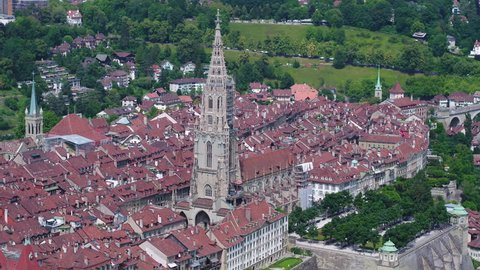 Aerial Switzerland Bern June 2018 Sunny Day 90mm Zoom 4K Inspire 2 Prores  Aerial video of downtown Bern in Switzerland on a beautiful sunny day with a zoom lens.