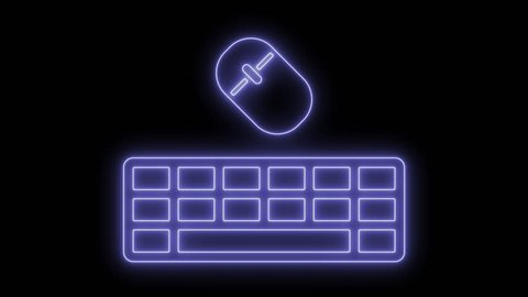 Keyboard and mouse  animated symbol icon 4k  neon effect, linear and alpha  channel