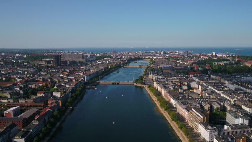 Aerial Denmark Copenhagen June 2018 Sunny Day 30mm 4K Inspire 2 Prores  Aerial video of downtown Copenhagen in Denmark on a sunny day. | Shutterstock HD Video #1025576489