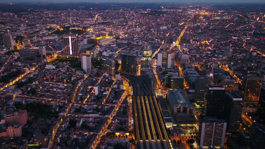 Aerial Belgium Brussels June 2018 Night 30mm 4K Inspire 2 Prores  Aerial video of Brussels Belgium downtown at night   Shutterstock HD Video #1025577479