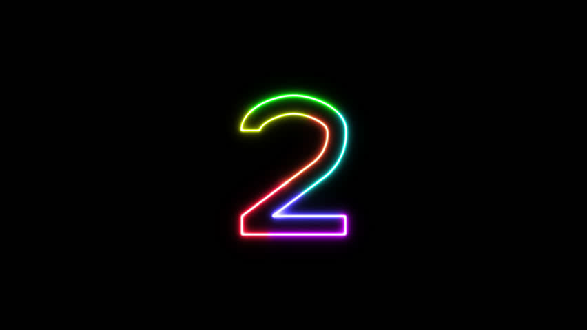 Number 2 - outline neon glowing in 7 rainbow colors on transparent background for intros, logo. Seamless loop. Fun animated font. 7 colors neon symbol. 4k video. Alpha channel | Shutterstock HD Video #1025586869