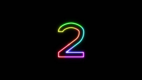 Number 2 - outline neon glowing in 7 rainbow colors on transparent background for intros, logo. Seamless loop. Fun animated font. 7 colors neon symbol. 4k video. Alpha channel