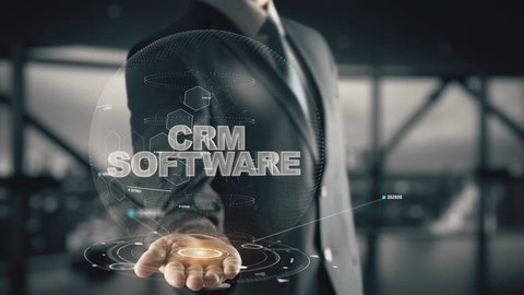 CRM Software with hologram businessman concept