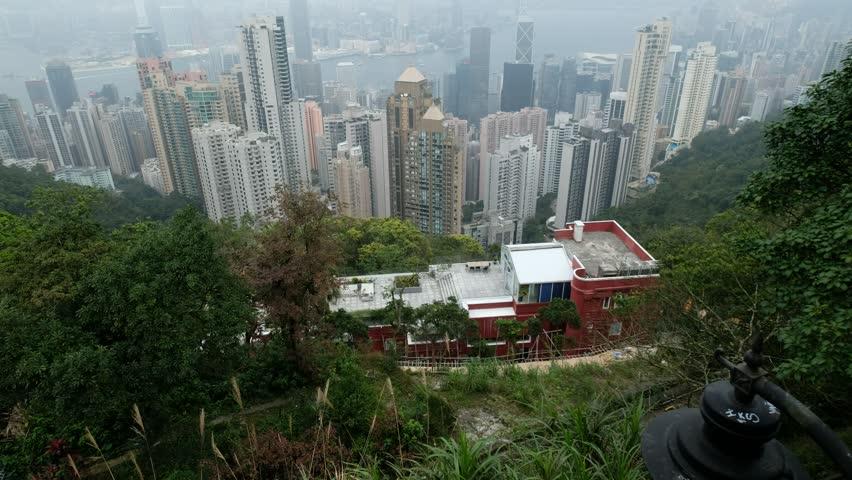 Hong Kong cityscape skyline view from Victoria Peak | Shutterstock HD Video #1025658539