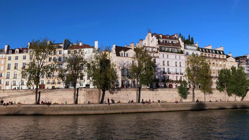 Seine river Paris France   Shutterstock HD Video #1025723189