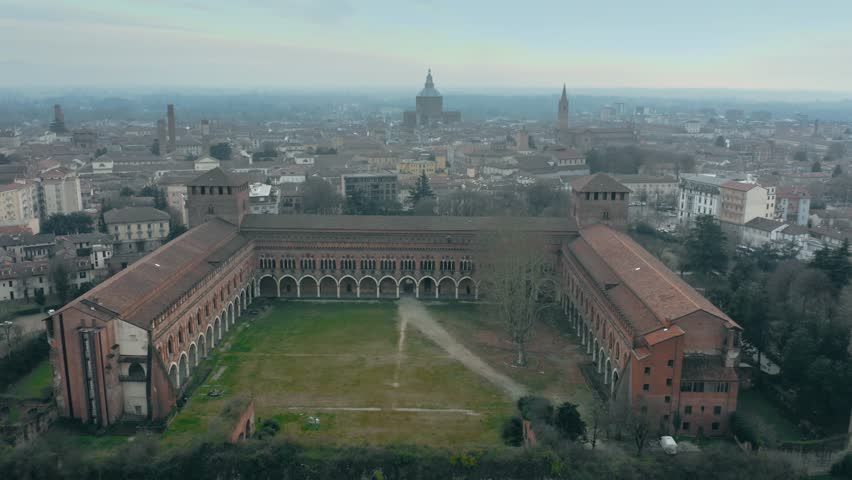 Aerial shot of historic Castello Visconteo or Visconti Castle and the cityscape of Pavia, Italy #1025750969