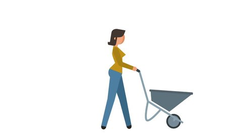 Stick Figure Pictogram Girl Worker Drags Cart Character Flat Animation