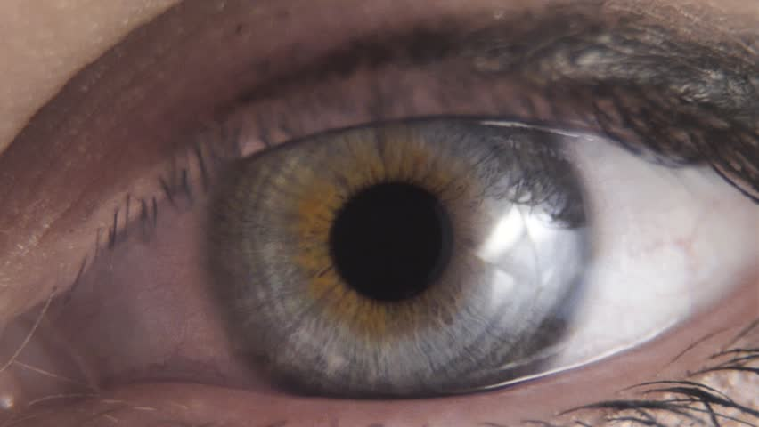 Macro closeup of a blue green human eye in slow motion #1025803919