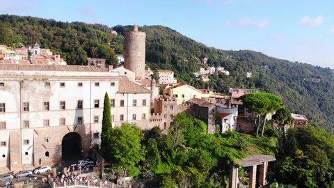Aerial shot of colorful ancient Italian village Nemi in Lazio, Italy.
