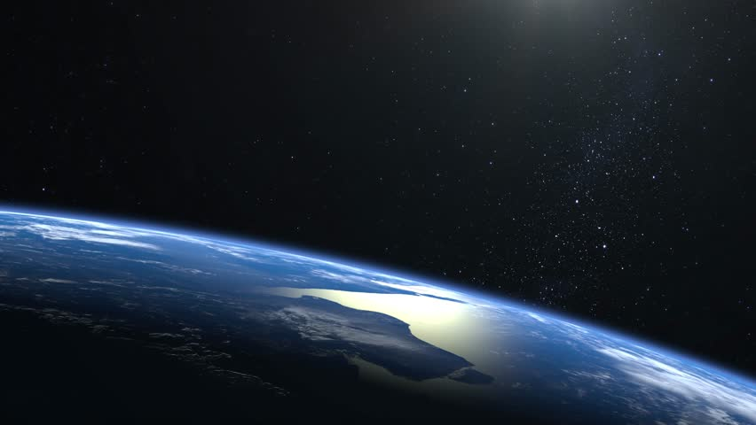 Earth. View from space. Stars twinkle. Flight over the Earth. The horizon is turned to the right. 4K. The earth slowly rotates. Realistic atmosphere. 3D Volumetric clouds. | Shutterstock HD Video #1025817359