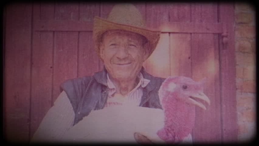 A farmer in a straw hat holds a big white turkey in his hands. Video archive. Retro. Vintage. Farm animals. Raising animals for meat. Agriculture. Organic food. Ranch. Not vegetarianism, but meat | Shutterstock HD Video #1025818979