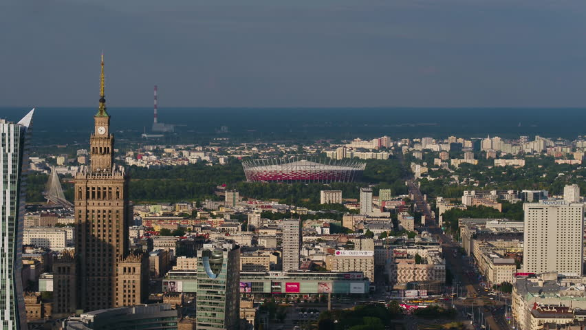Aerial Poland Warsaw June 2018 Sunny Day 90mm Zoom 4K Inspire 2 Prores  Aerial video of downtown Warsaw in Poland on beautiful sunny day with a zoom lens. | Shutterstock HD Video #1025823689