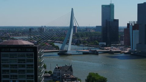 Aerial Netherlands Rotterdam June 2018 Sunny Day  Aerial video of downtown Rotterdam in the Netherlands on a beautiful sunny day with a zoom lens.