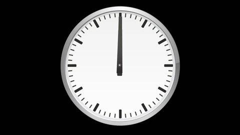 Animated analog clock, time lapse, on black background