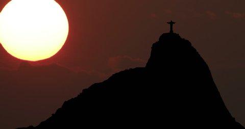 Sugarloaf Mountain Rio de Janeiro Brasil Silhouette at Sunset Timelapse