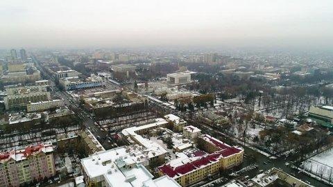 Bishkek city during winter time, Kyrgyzstan, drone shot