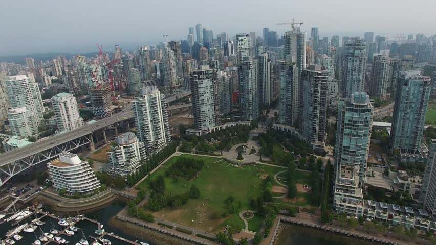 Drone Footage of downtown Vancouver Canada and Granville Island. | Shutterstock HD Video #1025850299