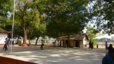 Ahmedabad, Gujarat, India - Circa 2018: Panning shot of the river front of Ahmedabad from the sabarmati ashram in Gujarat. Started by Mahatma and Kasturba Gandhi this teaching center housed their