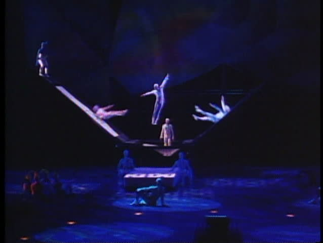 LAS VEGAS, NEVADA, 1994, Cirque de Soleil, Mystere, trampoline act, lavish show