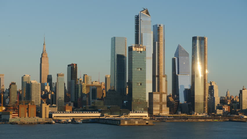 The mixed-use Hudson Yards real estate development and other buildings on the West Side of Manhattan in New York City. | Shutterstock HD Video #1025889509