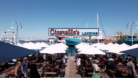 4K video footage of Cicerellos fish and chips restaurant in Fishing Boat Harbour, Fremantle, Western Australia. PERTH, WESTERN AUSTRALIA. Filmed: March 17th, 2019.