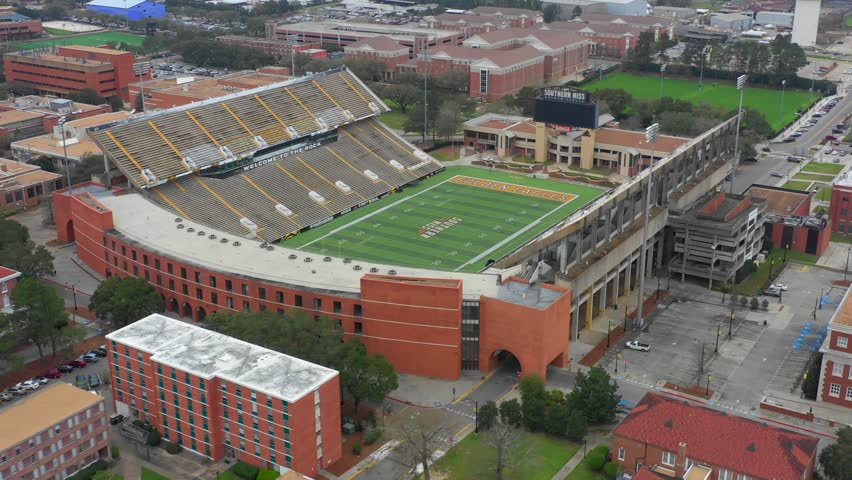 HATTIESBURG, MS, USA - MARCH 10, 2019: Aerial footage Southern Miss Golden Eagles football stadium | Shutterstock HD Video #1025890559