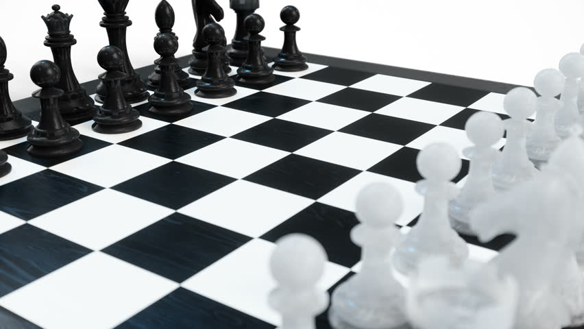 Chess board with pawns, kings, queens, rooks and knights. Chess board isolated on white background. Chessboard rotates. Looped animation, 3d animation | Shutterstock HD Video #1025950529