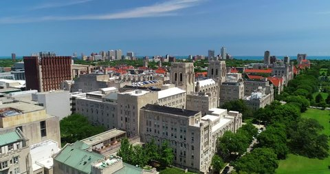 Chicago, Illinois/USA - August 15, 2018: Scenic aerial view of The University of Chicago's campus.