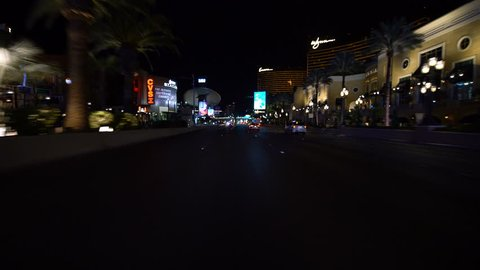 Las Vegas, Nevada, USA - Oct 12 2018 : Las Vegas Strip Driving Plate North Bound at Night 11 at Wynn