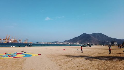 Khor Fakkan, United Arab Emirates - March 16, 2019: Khor Fakkan public beach in the emirate of Sharjah in United Arab Emirates