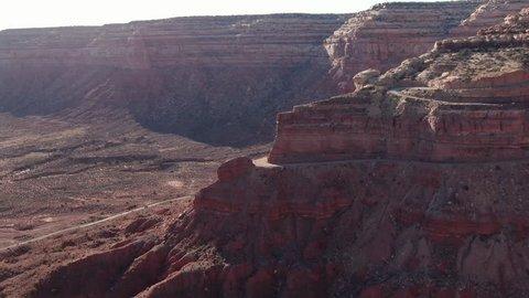 Utah Moki Dugway Aerial Shot of Road in Desert Canyons
