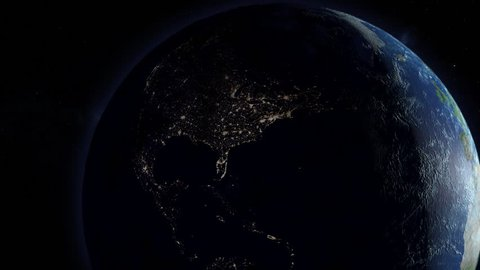 A simulated continental power outage as seen from space. North America version.