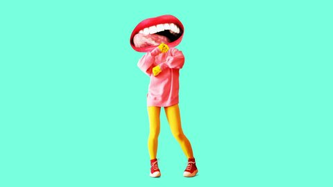 Fashion animation design. Dancing Funny lips girl