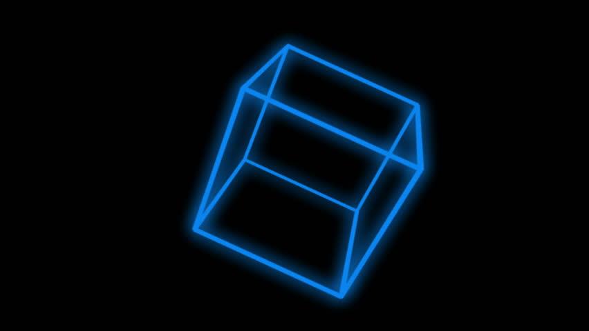 4k 3d blue cube,mathematics geometry in space. 0875_4k